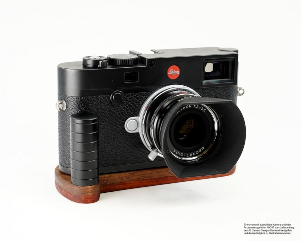 Camera handle for Leica M10 by JB Camera Designs USA made of walnut wood and padouk