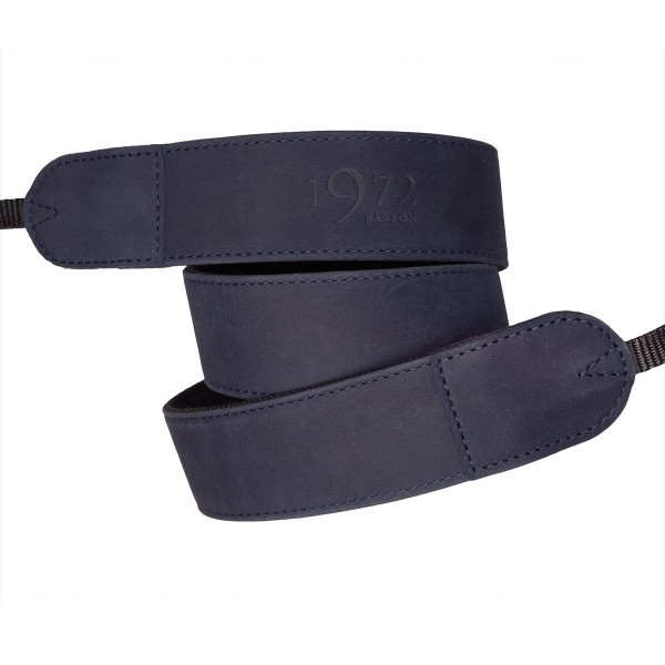 Camera strap made of leather and nylon canvas | Barton1972 | blue | adjustable