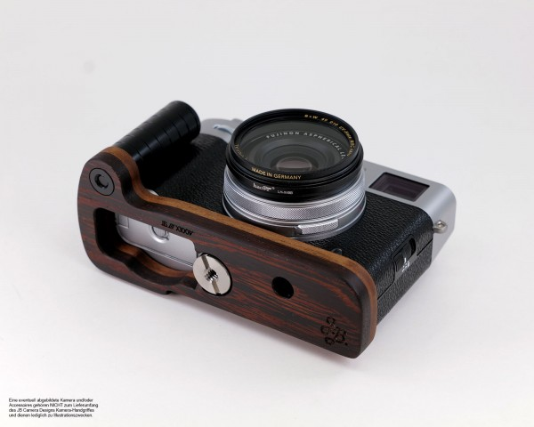 Camera grip for Fujifilm X100V made of wenge wood by JB Camera Designs | Dark Brown
