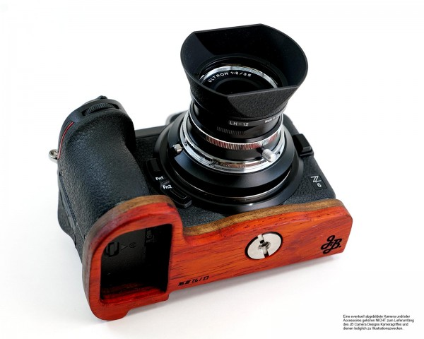 Camera grip for Nikon Z6 and Z7 | JB Camera Designs made of wood in orange red brown