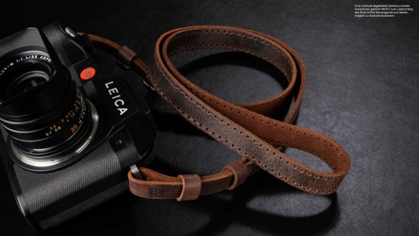 Retro leather camera shoulder strap for Leica SL SL2 S | Brown | Rock n Roll | Size L