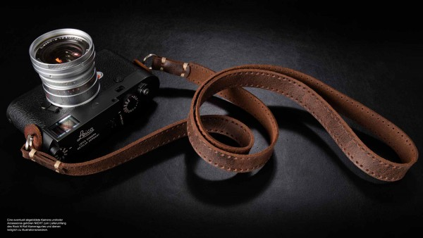 Retro camera shoulder strap made of leather in antique finish | brown | rock n roll | L