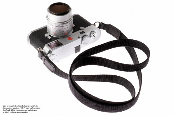 Camera strap made of leather and cotton in black from Rock n Roll Straps | S