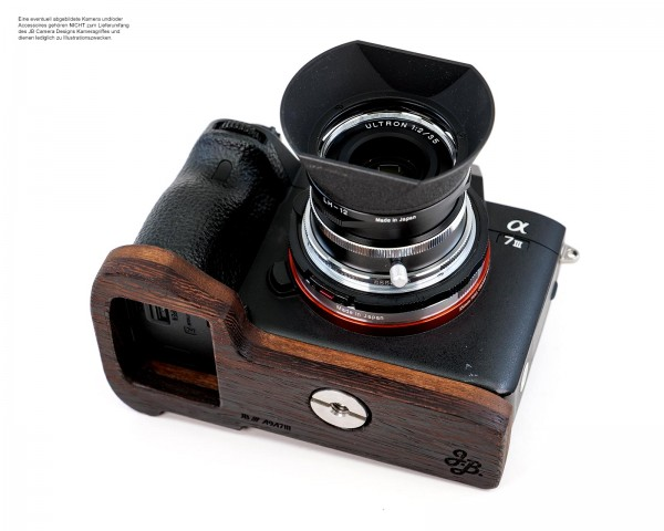 Camera grip for Sony A7 III A7R III A9 made of wood in brown by JB Camera Designs USA