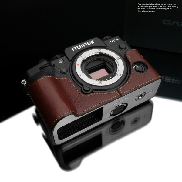 Half Case for Fuji X-T4 made of Italian leather in brown color by Gariz Design