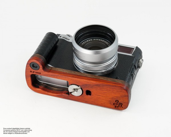 Camera grip for Fujifilm X100F by J.B. Camera Designs made of wood | Red Orange