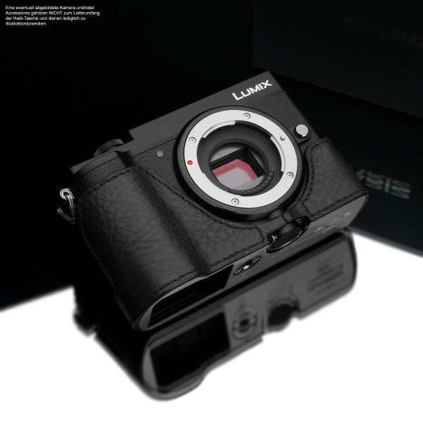Camera case for Panasonic Lumix DC-GX9 by Gariz Design made of leather in black