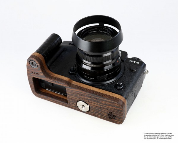Camera grip for Fujifilm X-T4 system camera in wenge wood | JB Camera Designs