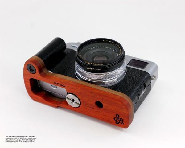 Camera handle for Fuji X100V made of Padouk precious wood by JB Camera Designs USA