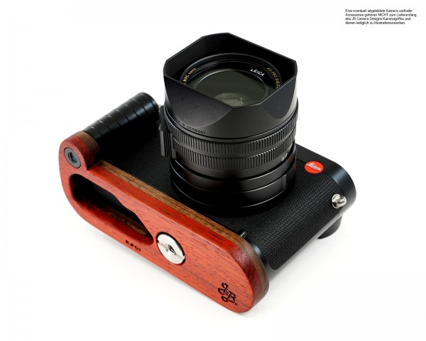 Wooden camera handle for Leica Q2 from JB Camera Designs in orange red