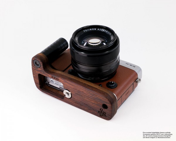 Camera grip for Fujifilm X-E3 camera | Wenge and walnut wood | JB Camera Designs