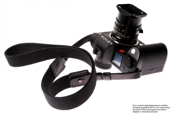 Camera carrying strap for Leica SL SL2 and S | Cotton | Black | Rock n Roll | S