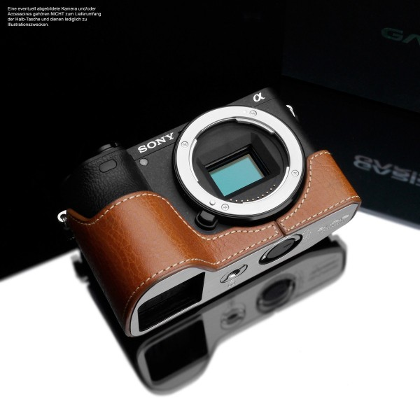 Leather photo case for Sony Alpha 6500 A6500 in light brown by GARIZ