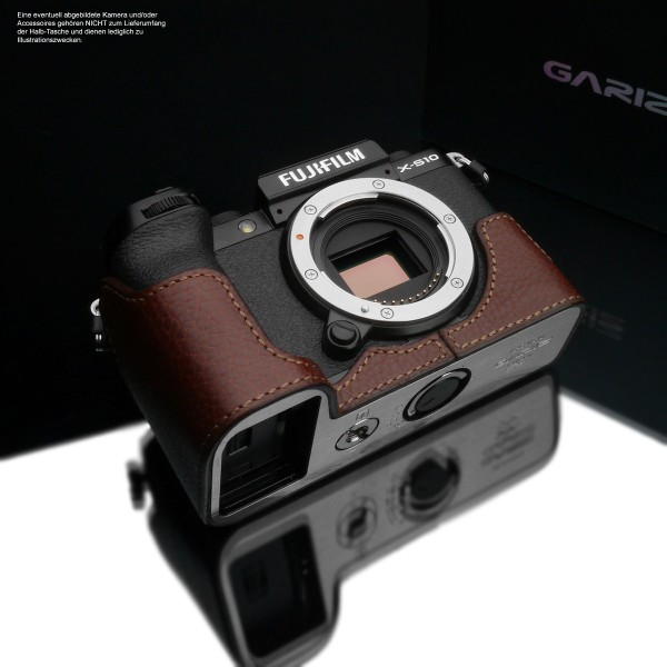 Photo half case for Fuji X-S10 or XS10 made of finest leather in brown by Gariz