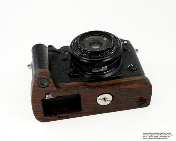Camera grip for Fuji X-T2 camera in brown wood by JB Camera Designs USA