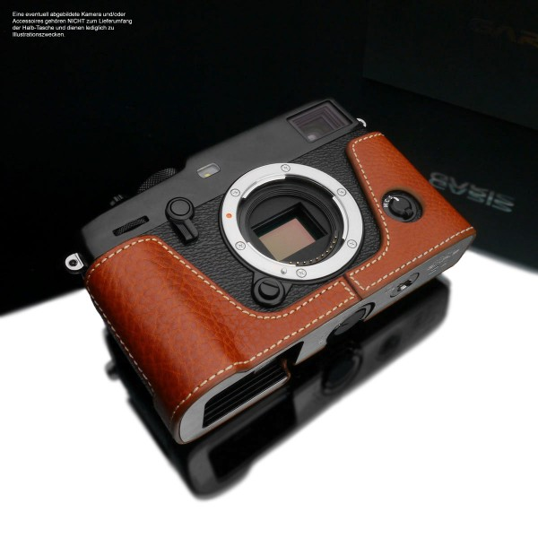 Case for Fuji XPro3 made of Italian leather by Gariz Design in light brown