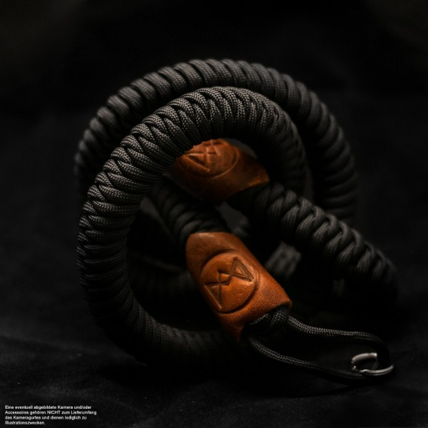 Paracord Camera Strap in Schwarz | Monarch VII Straps BOA | Handgefertigt |Gr.XL