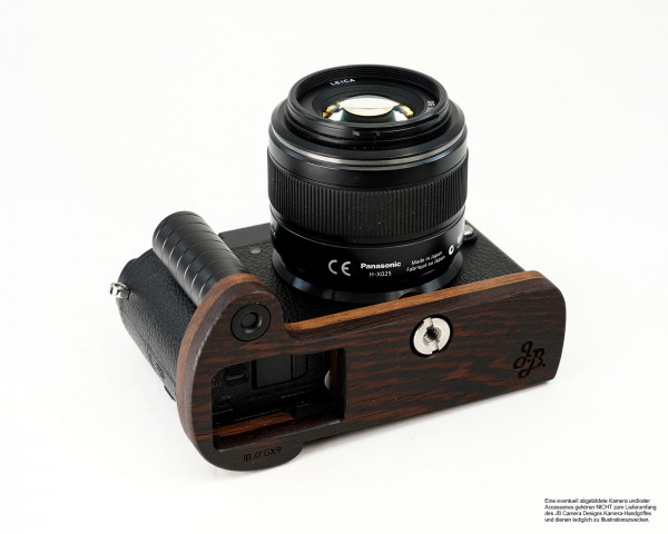 Camera grip for Panasonic GX9 made of wood by JB Camera Designs | Dark Brown Brown