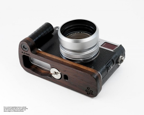 Camera grip for Fuji X100F made of wood by JB Camera Designs | Dark Brown Brown