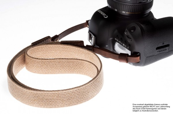 Camera strap for DSLR and system camera made of cotton | Beige | Rock n Roll | S