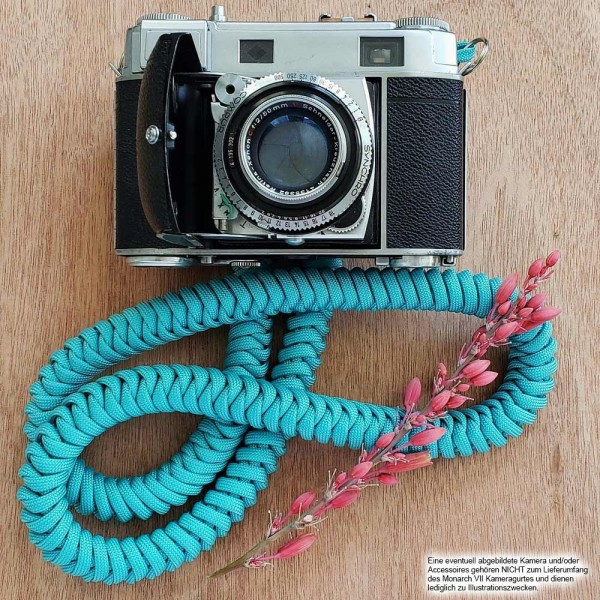 Camera carrying strap made of Paracord rope | Turquoise | Monarch VII Strap BOA |Gr.M