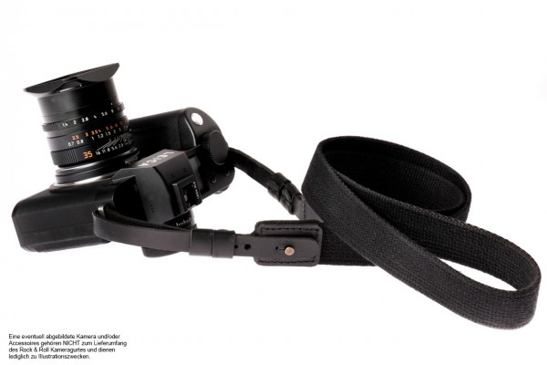 Camera strap for Leica SL2 SL S | cotton and leather | black | Rock n Roll | L