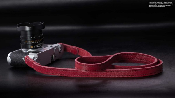 Leder Kameragurt in Rot mit Naht in Schwarz von Rock n Roll Camera Straps | Gr.S