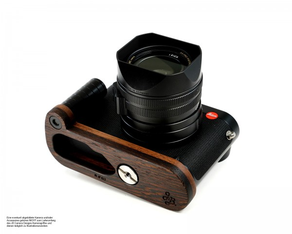 Camera grip for Leica Q2 camera made of wood in brown Dark brown | JB Camera Designs
