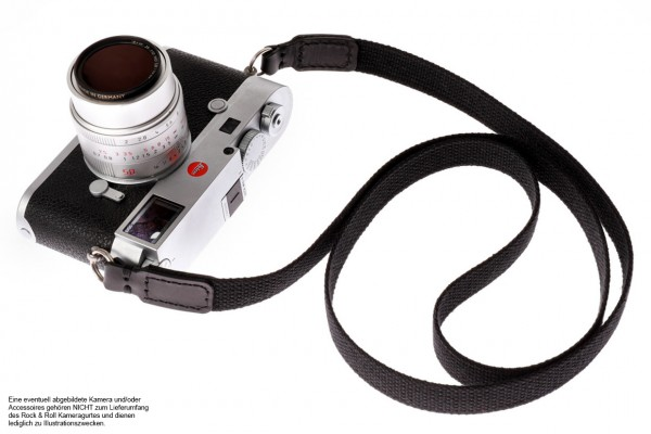 Carrying strap for cameras made of cotton in black from Rock n Roll Straps | L
