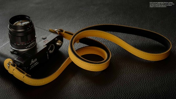 Vintage leather camera strap in yellow black from Rock n Roll Straps | handmade |Gr.S
