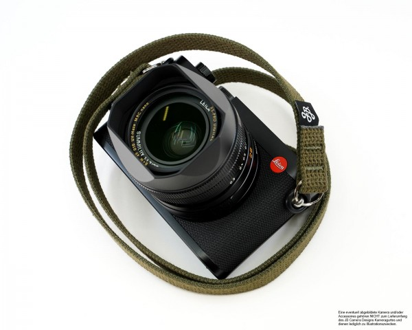 Camera carrying strap in green by JB Camera Design USA made of cotton | ca.120cm