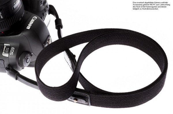 Camera shoulder strap of Cotton and leather in black by Rock n Roll Camera Straps | L