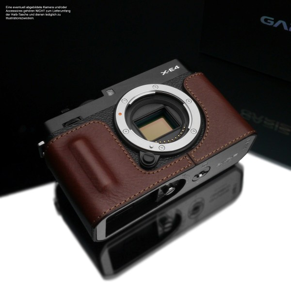 Leather photo case for Fuji X-E4 in brown with camera handle by Gariz Design