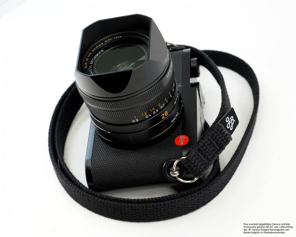 Camera shoulder strap in black by JB Camera Design USA made of cotton | ca.120cm