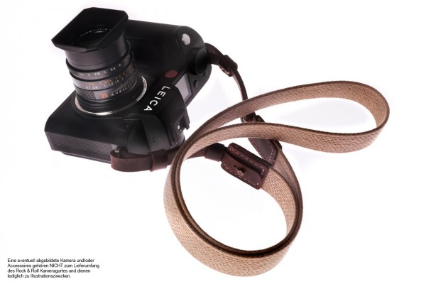camera shoulder strap for Leica SL2 | cotton and leather | beige | Rock n Roll |L