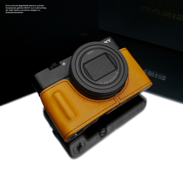 Leather camera case for Sony RX100 VII RX100 VI in yellow by Gariz Design