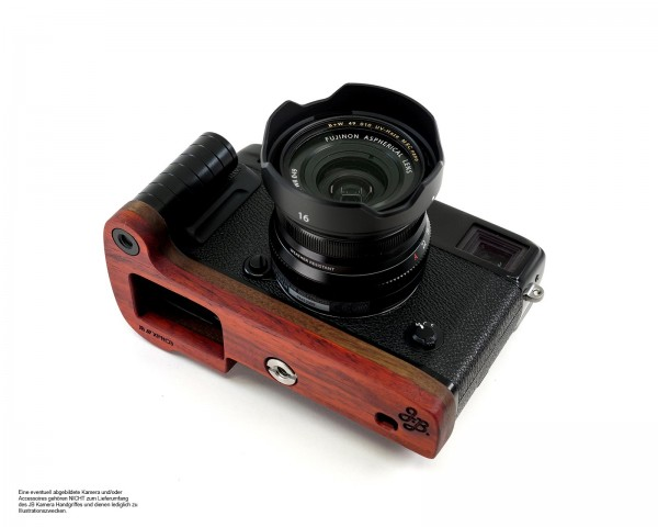 Camera grip for Fujifilm X-Pro3 camera | JB Camera Designs USA | Wood Orange Red Brown