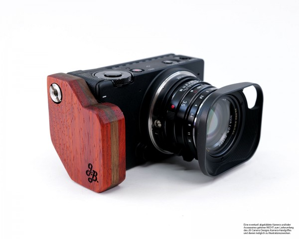 Camera handle for Sigma fp made of Padouk wood | JB Camera Designs | Made in USA