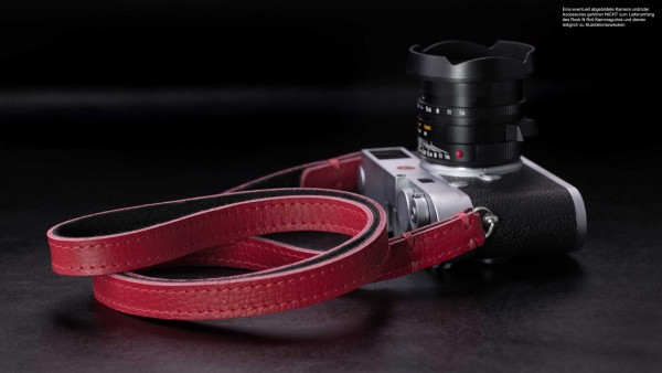Design camera strap made of leather in red and black | Rock n Roll Camera Straps |Gr.L