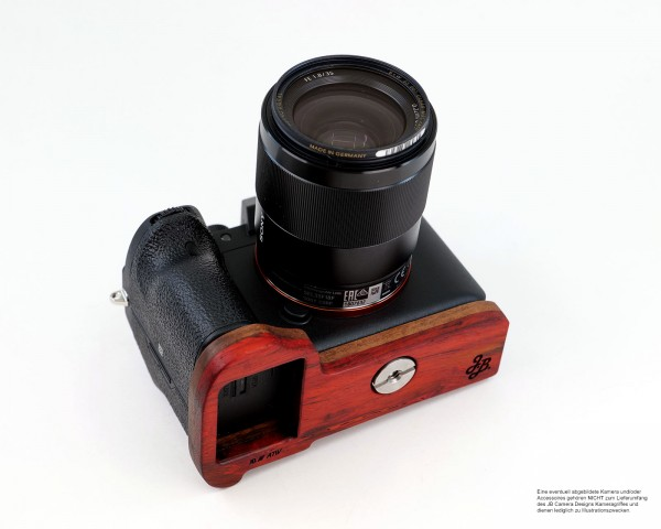 Camera grip for Sony A7R IV and A9 II | JB Camera Designs | Orange Red Brown