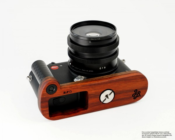 Camera handle for Leica CL Type 7323 made of Padouk wood by JB Camera Designs USA